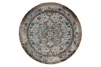 Roman Mosaic Classic Grey Brown Round Rug - 240cm Round