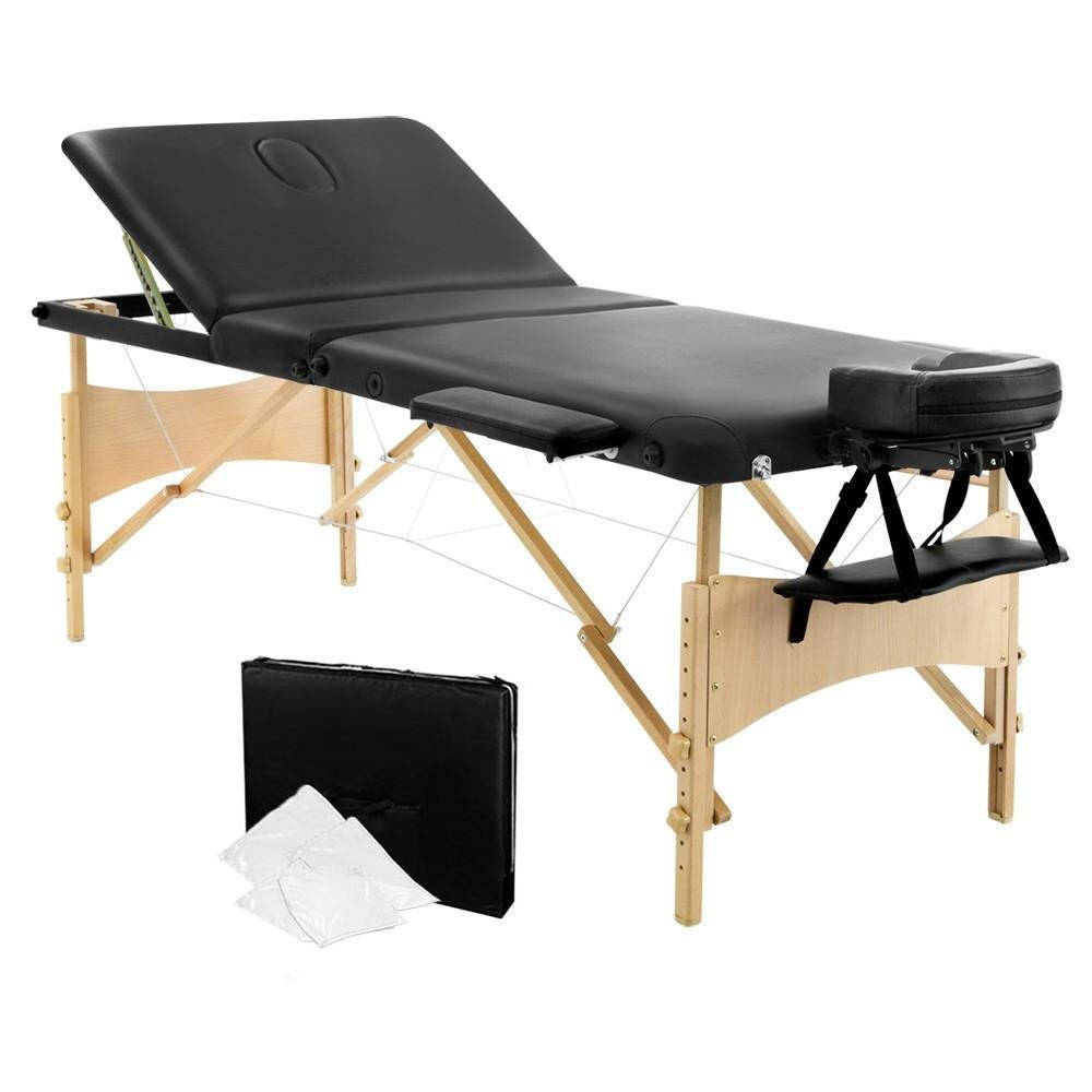 Picture of: Portable Wooden 3 Fold Massage Table Chair Bed 70cm White Kogan Com