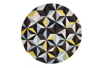 Matrix Round Pure Wool Blue Yellow Rug - 120X120CM