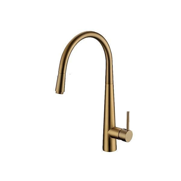 Pentro Brushed Yellow Gold Pull Out Kitchen Mixer PENTRO BRUSHED YELLOW GOLD PULL OUT KITCHEN MIXER This is an elegant and simple kitchen mixer. It gives your kitchen a modern feel. The blender is perfectly curved at the top and follows a modern design that gives the kitchen mixer an overall soft look. This mixer will make cleaning up vegetables and POTS and pans a breeze. This kitchen mixer is your perfect choice. SPECIFICATION Solid brass kitchen mixer tap that pulls out like a shower head Brushed Yellow Gold finish that matches the look of any home 3.5cm ceramic cartridge Hot & Cold water flow that can be changed by flicking mixer Easy to install and use Australian Standard, WELS approved Watermark No.: WMK25816 WELS registration number: T31701 WELS License Number:1752 WELS Star Rating: 6Star, 4L/M PACKAGE CONTENTS 1 x Kitchen Mixer Tap 2 x Water Hoses 1 x Set of Mounting Accessories (already installed)