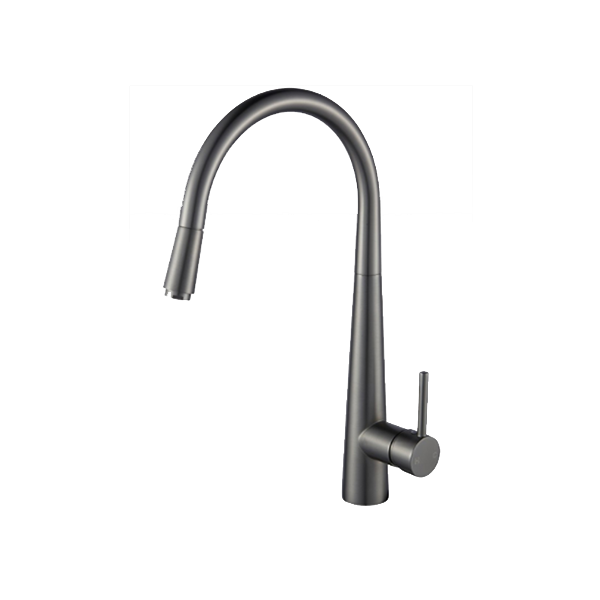 Pentro Gun Metal Grey Pull Out Kitchen Mixer PENTRO GUN METAL GREY PULL OUT KITCHEN MIXER This is an elegant and simple kitchen mixer. It gives your kitchen a modern feel. The blender is perfectly curved at the top and follows a modern design that gives the kitchen mixer an overall soft look. This mixer will make cleaning up vegetables and POTS and pans a breeze. This kitchen mixer is your perfect choice. SPECIFICATION Solid brass kitchen mixer tap that pulls out like a shower head Gun Metal Grey finish that matches the look of any home 3.5cm ceramic cartridge Easy to install and use WELS registration number: T31701 WELS License Number:1752 WELS Star Rating: 6Star, 4L/M PACKAGE CONTENTS 1 x Pentro Gun Metal Grey Pull Out Kitchen Mixer