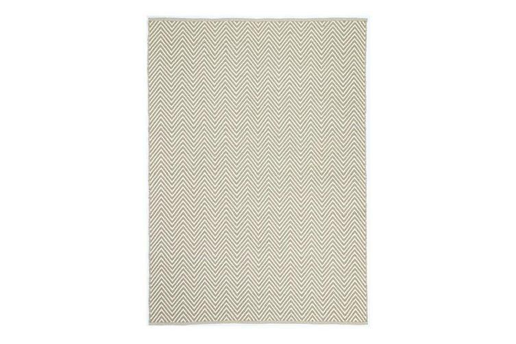 Natura Wool Limestone Beige Chevron Rug - 120x170 cm