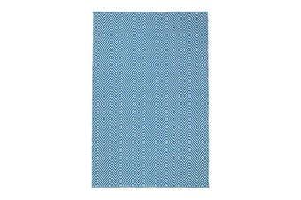 Natura Wool Turquoise Blue Chevron Rug - 160x230 cm