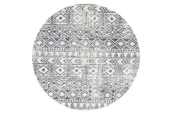 Oasis Ismail White Blue Rustic Round Rug - 240X240CM