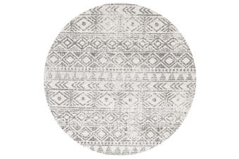 Oasis Ismail White Grey Rustic Round Rug - 200X200CM