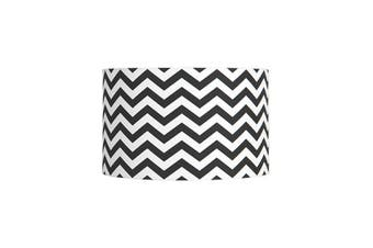 40Cm White Cotton Drum Shade With Black Print