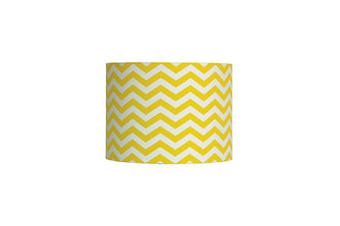 30Cm White With Yellow Print Drum Shade