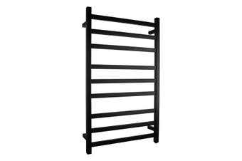 1000 X 600 X 120 Mm Square Electric Heated Towel Rack 9 Bars - Matte Black