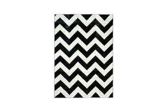 Picasso Chevron B And W Home Rug - 80 x 400 cm