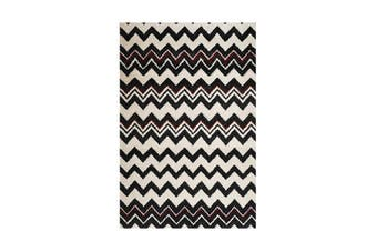 Picasso Zig Zag B And W Red Rug - 80 x 400 cm