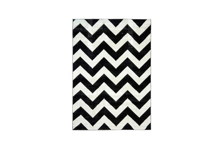 Picasso Chevron B And W Home Rug - 200 x 290 cm