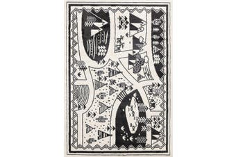 Black White Kids Camping Adventure Area Rug - 120x170