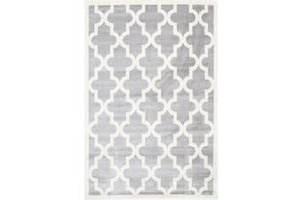 Lattice Pattern Light Grey White Rug - 120x170