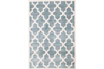 Lattice Pattern Light Blue White Rug - 160x230