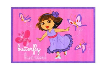 Kids Nickelodeon Dora the Explorer Butterfly 133x200cm Pink Rug