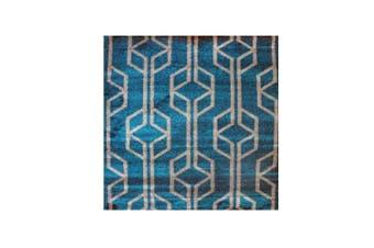 Melbourne Teal Geometric Pattern Rug - 80x300