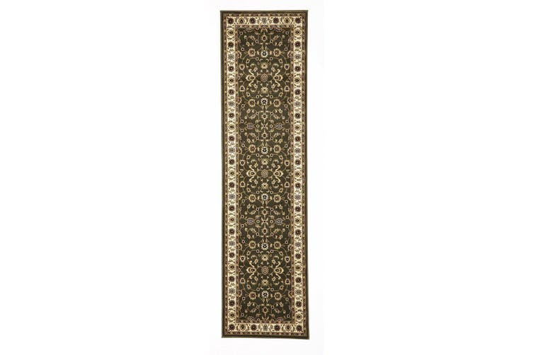 Sydney Collection Classic Green with Ivory Border Rug - 400X80CM