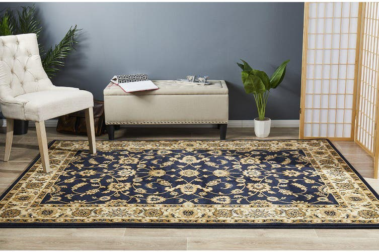 Sydney Collection Classic Blue with Ivory Border Rug - 170X120CM