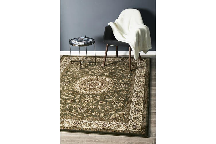 Sydney Collection Medallion Green with Ivory Border Rug