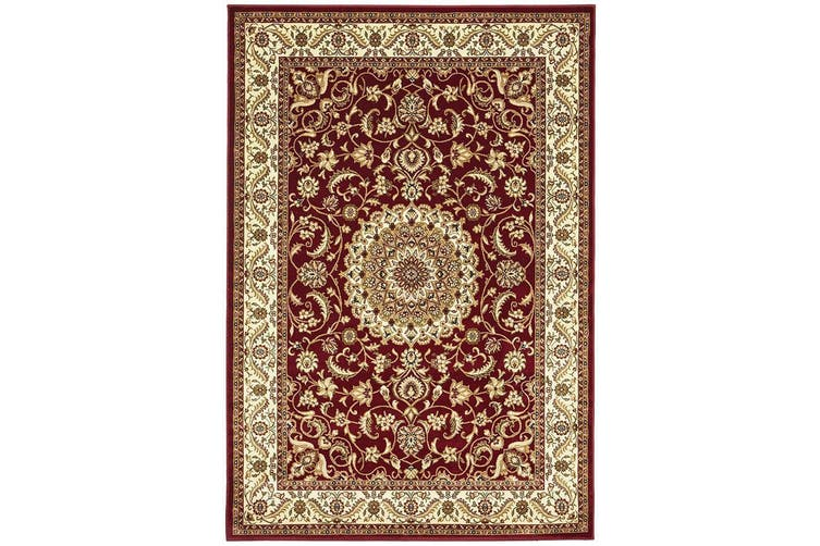 Sydney Collection Medallion Red with Ivory Border Rug - 330X240CM