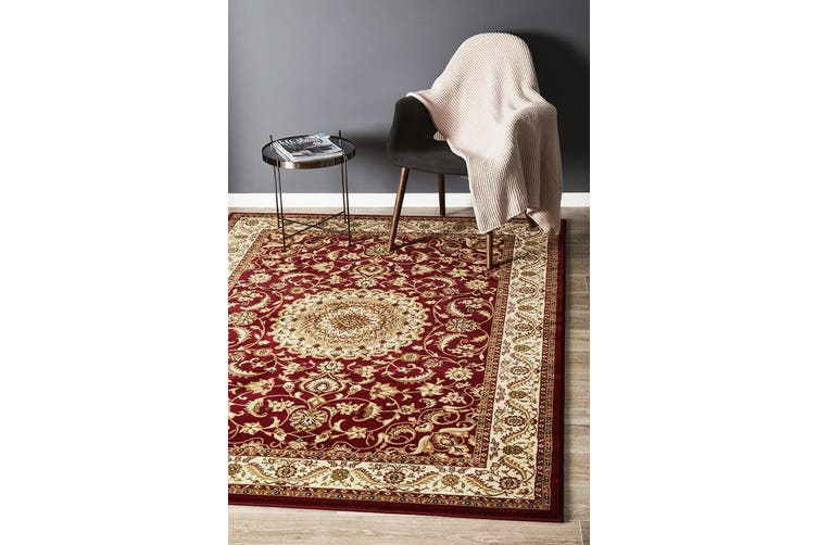 Sydney Collection Medallion Red with Ivory Border Rug - 400X300CM