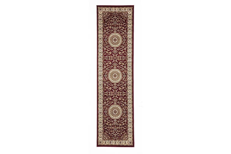 Sydney Collection Medallion Red with Ivory Border Rug - 400X80CM