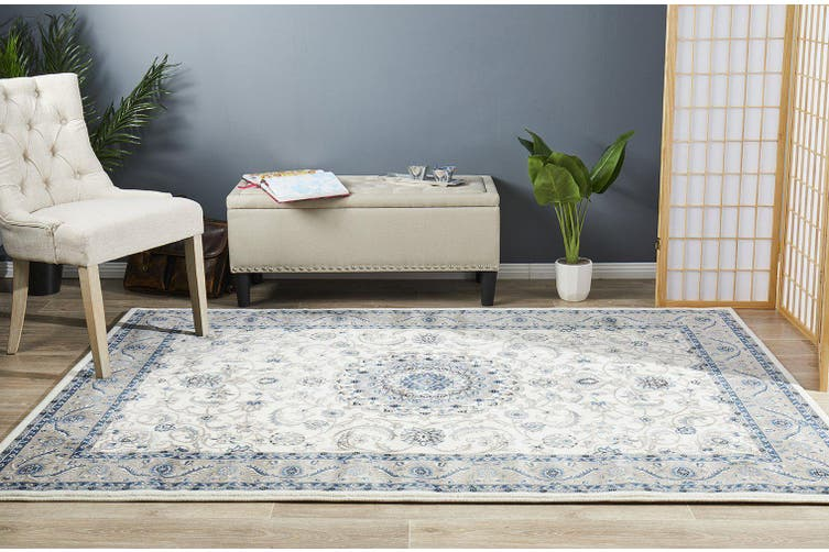 Sydney Collection Medallion White with Beige Border Rug - 230X160CM
