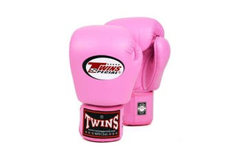 Twins Pro Leather Boxing Gloves Pink 16Oz