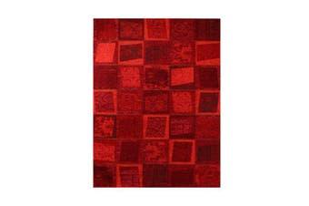 Vintage Bruges Red Patchwork Design Rug