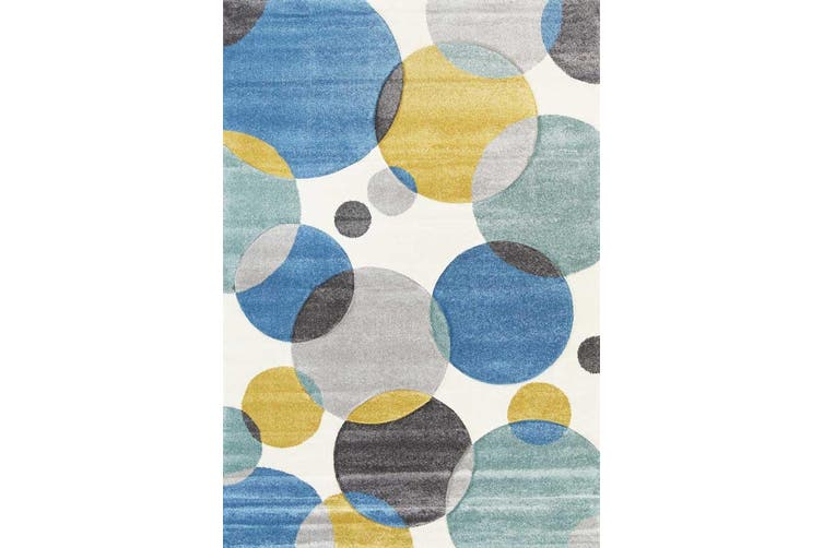 Focus Circles Blue and Pastels Rug - 240x330