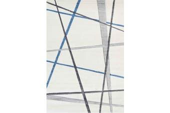 Focus Lines Cream Blue and Grey Rug - 240x330