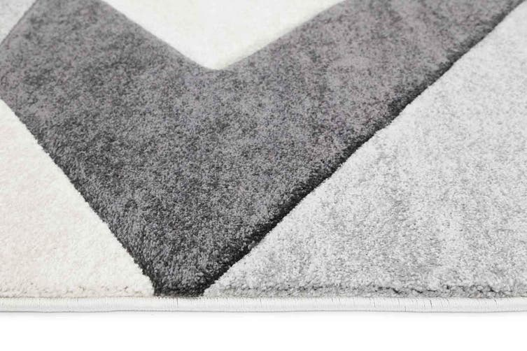 Focus Diamond Cream and Grey Rug - 240x330