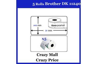 5x DK11240 DK 11240 Thermal Labels For Brother QL500 QL 560 570 580N 1060N ETC