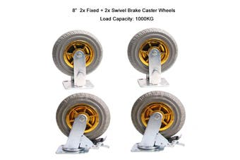 """4x 8"""" Heavy Duty Industrial Swivel Brake Caster Tyre Tyres Wheel Wheels Castor 1000KG Trolley"""