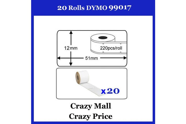 20x 99017 SD99017 For Dymo labelWriter Themal label 50mm x 12mm 220