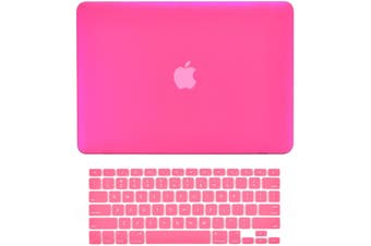 2 in 1 Hard Case Keyboard Cover MacBook Air 13 A1369 A1466 Release 2010-2017 Hot Pink