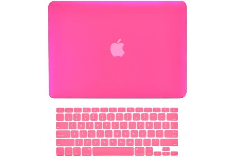 2 in 1 Hard Case Keyboard Cover MacBook Air 13 A1369 A1466 Release 2010-2017 Hot Pink