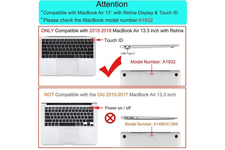 MacBook Air 13 Inch Case 2020 2019 2018, A1932, A2179,Hard Shell Case Keyboard Cover Black