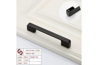 Zinc Kitchen Cabinet Handles Drawer Bar Handle Pull black+copper color hole to hole size 128mm