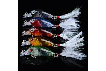 5x 4.5cm Popper Crank Bait Fishing Lure Lures Surface Tackle Saltwater