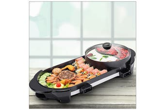 2 in 1 BBQ Barbecue Electronic Pan Grill Teppanyaki Hot Pot Hotpot Steamboat