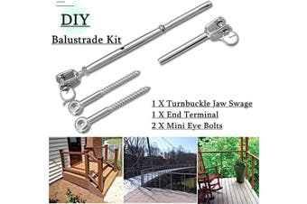 Wire Rope DIY Balustrade Kit Jaw/Swage Fork Terminal Eye Bolts Turnbuckle