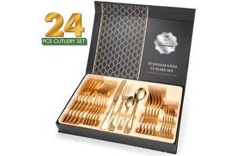 24-Piece Stainless Steel Gold Set, Knife Fork Spoon Flatware Set Cutlery Set, Mirror Finish