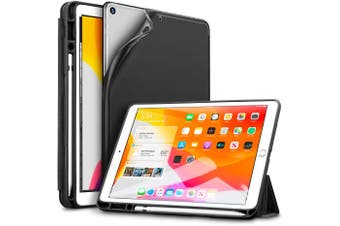 IPad 10.2 2019 7th Pencil Holder Slim Smart TPU Soft Edge Case Black