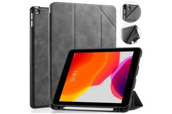 IPad 10.2 2019 7th Pencil Holder Slim Smart TPU PU leather Soft Edge Case Grey