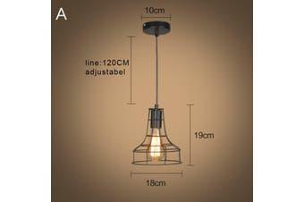 Iron Pendant Lighting Vintage Ceiling Light Bar Black Lamp Kitchen Restaurant
