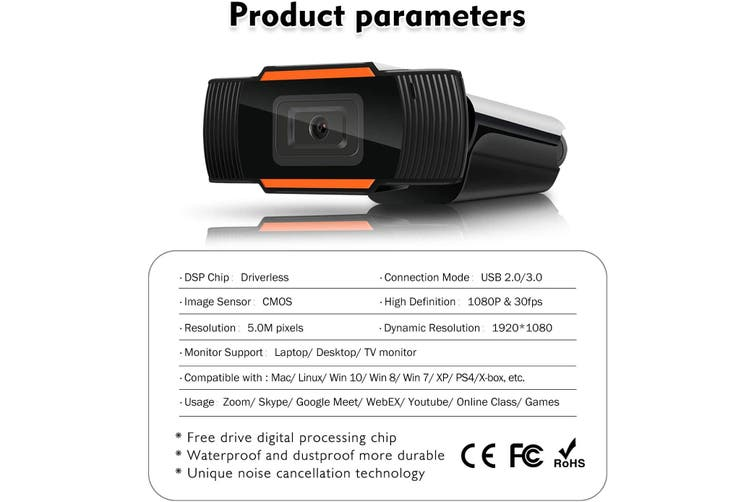 1080P Webcam AutoFocus with Microphone Computer Camera Wide Angle Video