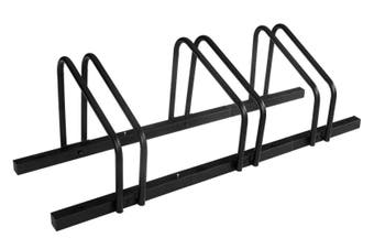 1 - 3 Bike Floor Parking Rack Storage Stand Bicycle Black