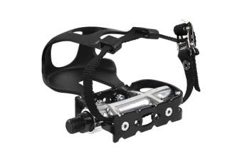 """CyclingDeal Bike Pedals with Toe Clips Cages and Straps - 9/16"""" Axle Aluminum Alloy Bicycle Pedals for Exercise Bike Spin Bike"""