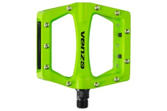 """Venzo Flat BMX Mountain Bicycle 9/16 CR-MO Axle Pedals With Reflector Green"""""""